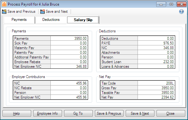 Andica Payroll software on screen payslip visible while processing payroll.